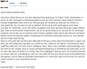 Franzi schreibt an die Deutsche Bahn auf Facebook